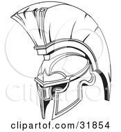 Clipart Illustration Of A Black And White Spartan Or Trojan Helmet Part Of Body Armor