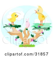Clipart Illustration Of A Pink Bunny And Two Chicks In A Tree With Happy Easter Text by bpearth