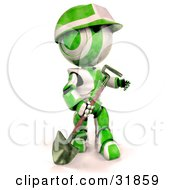3d Green And White Ao-Maru Robot With A Matching Hardhat Carrying A Shovel Looking Off To The Right
