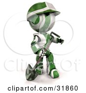 3d Green And White Ao-Maru Robot Worker With A Hardhat Carrying A Shovel And Looking Off To The Right