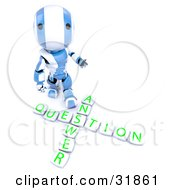 3D Blue And White AO Maru Robot Looking Upwards And Standing Above Blocks Spelling Out Answer Question by Leo Blanchette