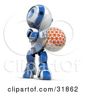 Clipart Illustration Of A 3D Blue And White AO Maru Robot Holding An Orange Planet Or Ball Looking Down At It