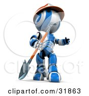 Clipart Illustration Of A 3D Blue And White AO Maru Construction Worker Robot With A Hardhat And Shovel Looking Up And Off To The Right by Leo Blanchette