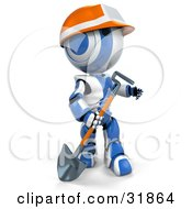 Clipart Illustration Of A 3D Blue And White AO Maru Construction Worker Robot Wearing An Orange Hardhat Carrying A Shovel And Looking Off To The Right by Leo Blanchette