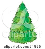 Clipart Illustration Of A Perfectly Trimmed Evergreen Christmas Tree On A White Background