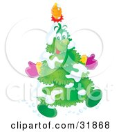 Clipart Illustration Of A Jolly Snow Flocked Christmas Tree Wearing Mittens A Pinecone On His Head