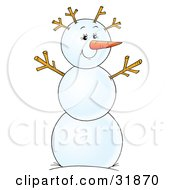 Clipart Illustration Of A Friendly Snowman With A Carrot Nose And Twig Arms And Hair