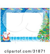 Santa Claus Sitting On A Toy Sack In The Snow Near A Christmas Tree Under Banners On A Stationery Border