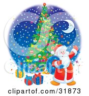 Clipart Illustration Of Santa Claus Carrying A Toy Sack And Waving Standing Near Gifts Under A Christmas Tree Against A Blue Night Sky With Colorful Stars And A Crescent Moon