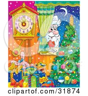 Clipart Illustration Of St Nick Peeking In Through A Home Window Looking In On Toys A Christmas Tree And Clock On A Snowy Winter Night