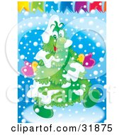 Clipart Illustration Of A Happy Christmas Tree Flocked In Snow Wearing Mittens And Walking Under Banners
