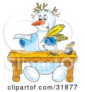 Clipart Illustration Of A Happy Snowman Seated At A Table Writing Letters With Ink And A Quill by Alex Bannykh
