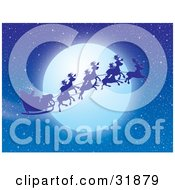 Clipart Illustration Of Santa Claus And Reindeer Silhouetted Against A Full Moon In A Night Sky