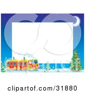 Kris Kringle Driving A Train Near A Christmas Tree On A Stationery Border With A Crescent Moon And White Text Space