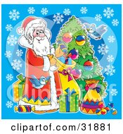 Clipart Illustration Of St Nick And Blue Birds Decorating A Christmas Tree And Leaving Presents On A Blue Background With Snowflakes