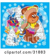Clipart Illustration Of Bluebirds Following A Bear As He Pulls A Sled Of Christmas Presents Over A Blue Background With Snowflakes And Flocked Trees