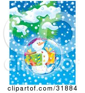 Clipart Illustration Of A Snowman Carrying Presents And Ice Skating On A Christmas Bauble Hanging From A Tree Branch Over A Snowy Blue Background