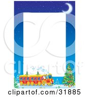 Crescent Moon Over Kris Kringle Driving A Train Near A Christmas Tree On A Stationery Border With White Text Space