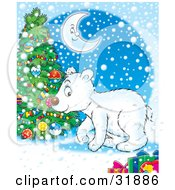 Clipart Illustration Of A Cute Polar Bear Near A Christmas Tree Under A Crescent Moon On A Blue Snowy Background by Alex Bannykh
