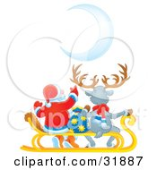 Clipart Illustration Of Santa Claus And A Reindeer Seated On A Sled With A Toy Sack Watching A Crescent Moon