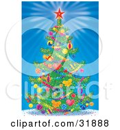 Decorated Christmas Tree With A Red Star On Top Garlands And Ornaments Over A Bursting Blue Background