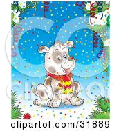 Clipart Illustration Of A Happy Puppy Wearing A Scarf Surrounded By Colorful Confetti Streamers And Flocked Tree Branches On A Blue Background
