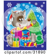 Clipart Illustration Of A Happy Wolf Wearing A Santa Hat And Waving While Opening Presents Over A Blue Background With Snowflakes And A Tree