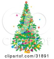 Clipart Illustration Of A Little House Under A Decorated Christmas Tree With Ornaments And Garlands On A White Background With Colorful Stars