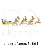 Clipart Illustration Of Santa Claus Holding Onto A Toy Sack And Waving While Being Transported By His Team Of Reindeer