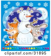 Clipart Illustration Of A Cute Fox And Hare Peeking Around A Friendly Snowman Over A Blue Background With Snowflakes And A Crescent Moon And Colorful Baubles by Alex Bannykh