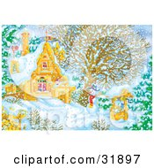 Clipart Illustration Of A Snowman Beside A Well Near A Home On A Snowy Winter Day