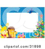 Clipart Illustration Of A Bunny Rabbit And Hedgehog Watching A Bluebird Fly Above A Christmas Tree On A Blue Border Around White Stationery Text Space by Alex Bannykh