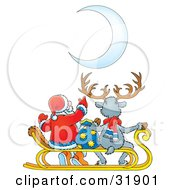 Clipart Illustration Of Santa Claus Pointing At A Crescent Moon While Sitting With A Toy Sack And A Reindeer
