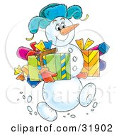Clipart Illustration Of A Jolly Snowman Wearing A Hat Carrying Gifts In Both Arms