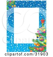 Clipart Illustration Of A Stationery Border Of Snow Confetti And A Decorated Christmas Tree Around A White Text Box