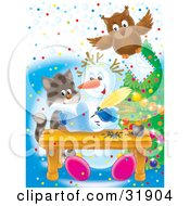 Clipart Illustration Of An Owl Flying With An Envelope Over A Kitten Watching A Snowman Writing A Letter by Alex Bannykh