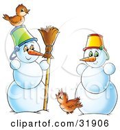 Clipart Illustration Of Two Friendly Snowmen Wearing Pail Hats Standing With A Broom And Two Brown Birds
