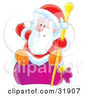 Clipart Illustration Of St Nick Waving While Sitting On His Toy Sack And Holding Onto A Golden Staff