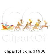 Clipart Illustration Of A Team Of Reindeer Flying Santa Claus In His Sleigh