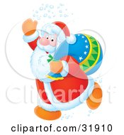 Clipart Illustration Of Kris Kringle Running Through Snow And Waving While Running Past With A Toy Sack
