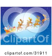 Clipart Illustration Of Santa Claus Waving In His Sleigh While Flying With His Reindeer In Front Of A Full Moon