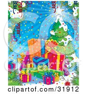 Clipart Illustration Of Streamers And Confetti Framing A Scene Of Presents Near A Flocked Christmas Tree