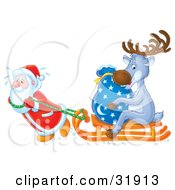 Clipart Illustration Of St Nick Breaking A Sweat While Pulling A Toy Sack And Reindeer On A Sled