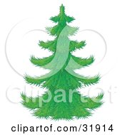 Clipart Illustration Of A Perfect Green Christmas Tree With Branches Waiting To Be Decorated On A White Background