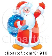 Clipart Illustration Of Santa Claus In His Red Suit Smiling And Waving A Blue Toy Sack Slumped Over His Shoulder