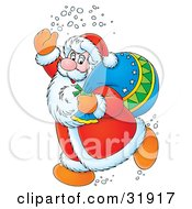 Clipart Illustration Of Kris Kringle Waving While Running Past A Toy Sack Slumped On His Shoulder