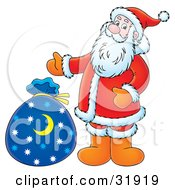 Clipart Illustration Of Kris Kringle Smiling And Gesturing Towards A Blue Toy Sack With A Crescent Moon And Star Pattern