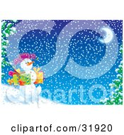 Clipart Illustration Of A Happy Snowman Walking Downhill Past Flocked Trees Carrying Gifts On A Snowy Winter Night With A Crescent Moon