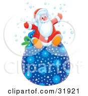 Clipart Illustration Of Santa Claus Having Fun And Sitting On Top Of A Blue Star Patterned Toy Sack In The Snow