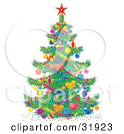 Clipart Illustration Of A Colorful Decorated Christmas Tree With A Red Star On Top Baubles And Garland